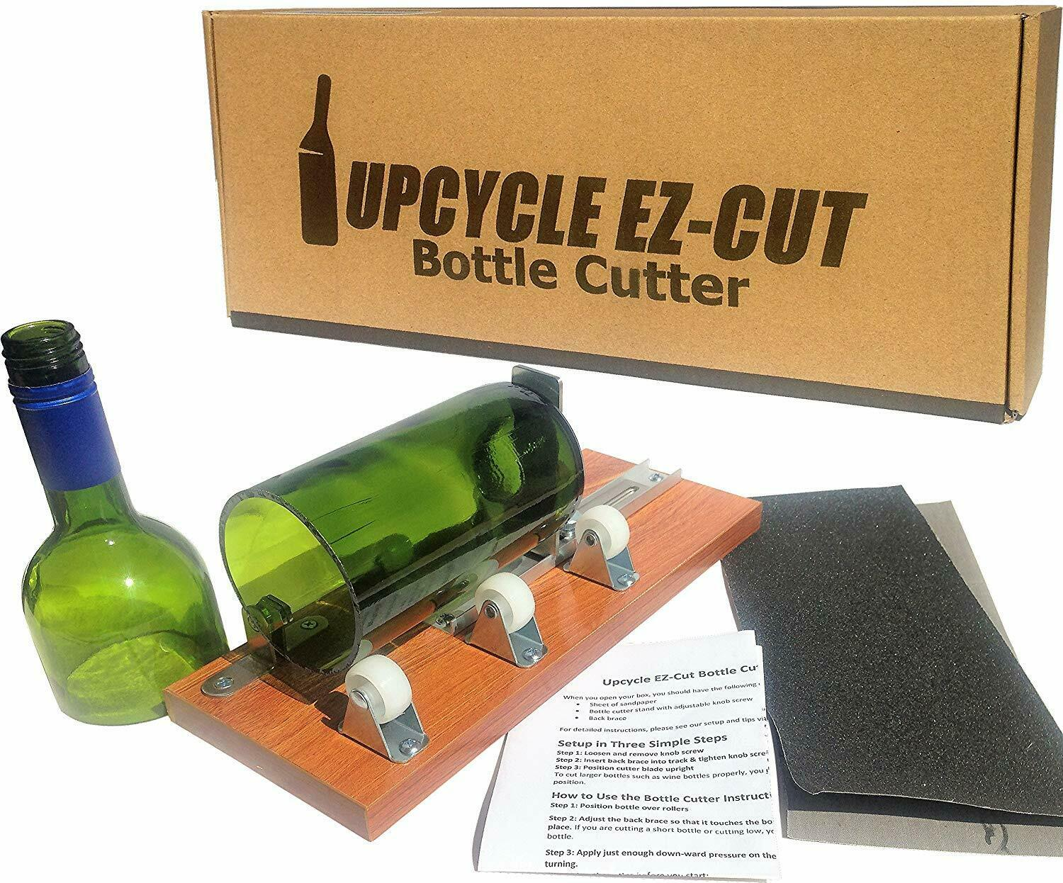 Bottle Cutter Kit to Make Glasses from Wine/Beer Bottles + Edge Sanding Paper