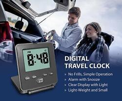 Atomic Radio controlled Digital travel Clock with Indoor Loud Alarm Snooze black