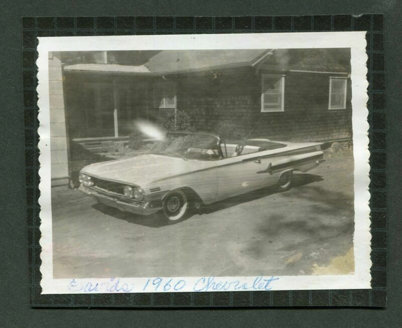 Vintage Polaroid Photo 1960 Chevrolet Chevy Convertible Car 399170