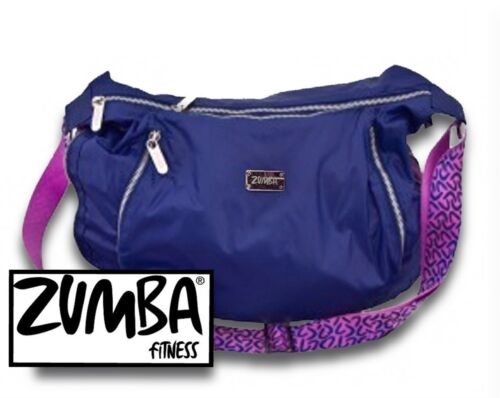 NWT Zumba bag blue purple peek-a-boo cross body expandable workout gym tote NEW