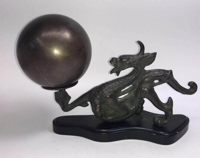 Vintage Bronze Chinese Dragon Holding Ball On Black Base For Desk Or Shelf
