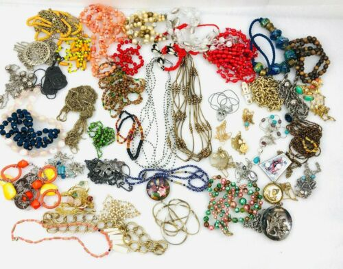Lot of 50 Vintage to Modern Necklaces All Styles Colors - Wearable Jewelry