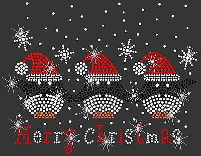 Merry Christmas Penguin Santa Hat Bling Rhinestone Hot Fix Iron On Transfer - Christmas Penguin