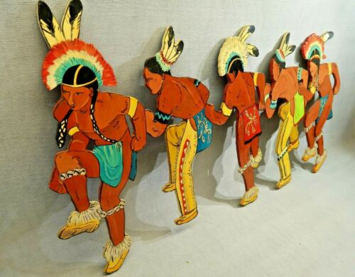 Hand Painted Indian Dancing Figures Pow Wow 27 Inches long