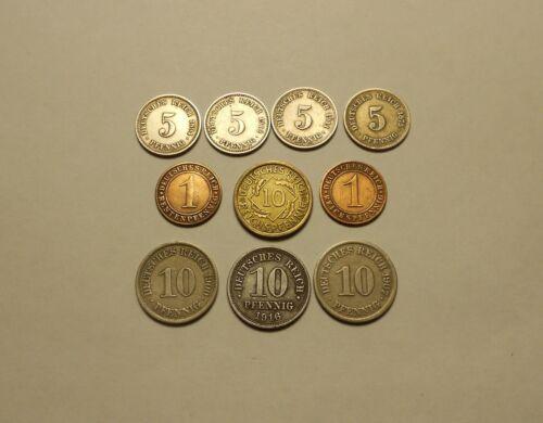 German Pfennig Coin Lot of 10
