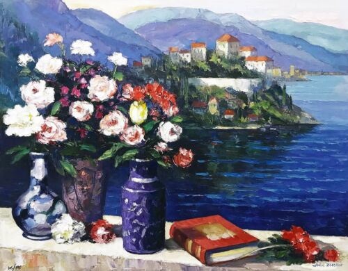 "John Zaccheo ""mediterranean Scene"" | Embellished Canvas | Make An Offer  Gallart"