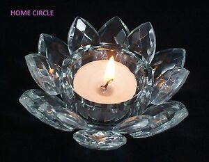 LOTUS CRYSTAL VOTIVE TEALIGHT HOLDER BOMBONIERE WEDDINGS DECO MOTHER'S DAY GIFT