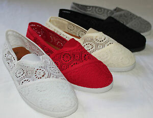 Brand-New-Womens-Classic-Crochet-Slip-On-Flat-Shoes-Free-Shipping-USA-Seller