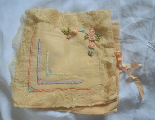 Vintage French ribbon work and lace padded silk pouch or cover