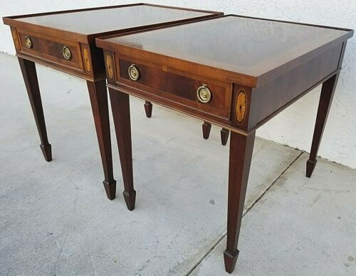 Vintage Pair of HEKMAN Federal Style Copley Place Flame Mahogany End Side Tables