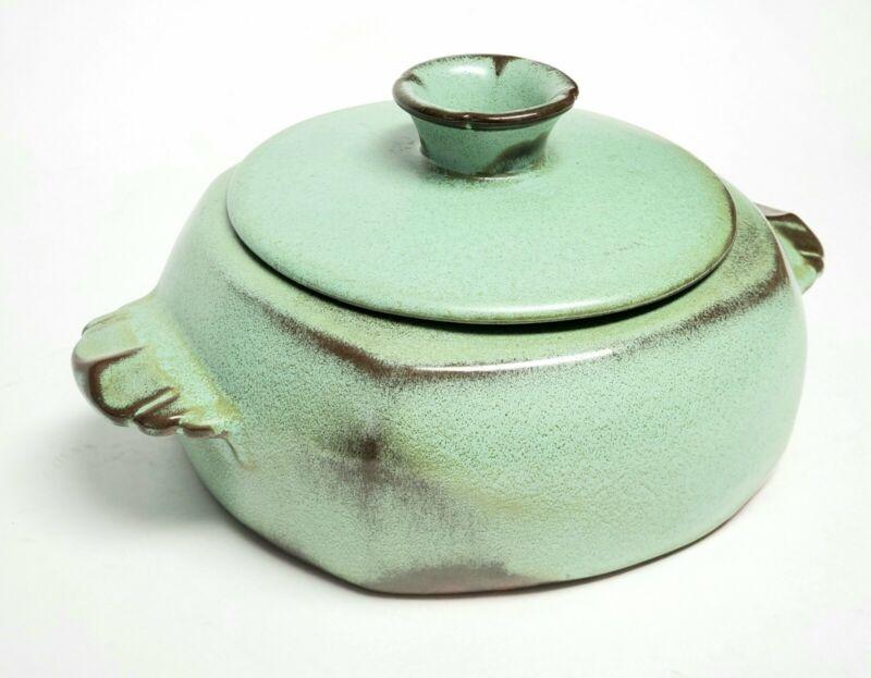 Vintage Frankoma Pottery Plainsman 1.5 Qt. Covered Casserole Dish 5V Green