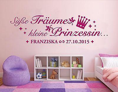 Wandtattoo Kinderzimmer Baby Süße träume kleine Prinzessin mit Name Datum pkm156 ()