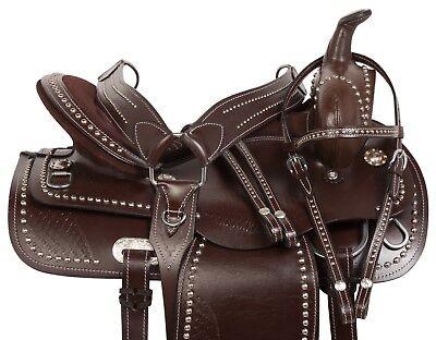 HAND TOOLED WESTERN PLEASURE TRAIL HORSE LEATHER SADDLE TACK SET 16 17 18