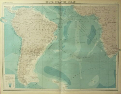 1922 LARGE ANTIQUE MAP ~ SOUTH ATLANTIC OCEAN STEAMER ROUTES SUBMARINE CABLES