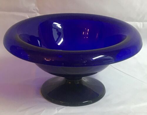 Bristol Blown Glass Cobalt Blue Bowl Compote with Rolled Edge Early 19th century