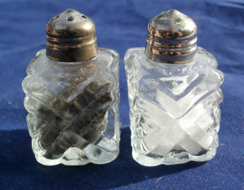 Vintage Square Glass Salt & Pepper Shakers