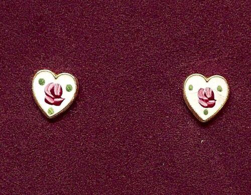 Vintage Heart Earrings,Guilloche Earrings,Sarah Cov Earrings,Child Pierced #G52