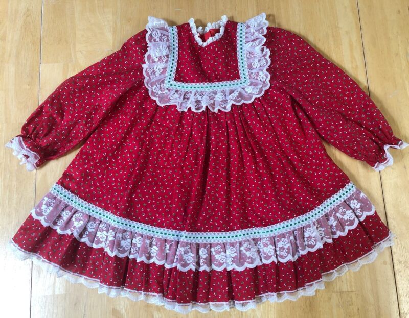 Vintage Bryan Little Girl Dress Size 4T Red Floral Lace Ribbon Christmas Ruffles