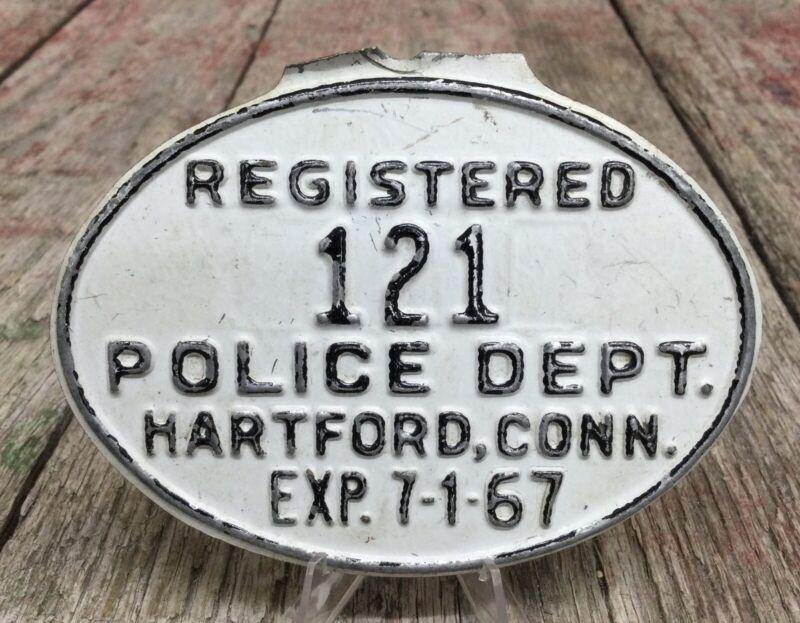 Original Vintage 1967 Hartford CONN Police Dept Bicycle License Plate #121