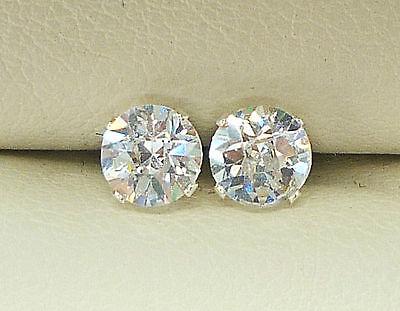 DIAMOND SILVER STUD EARRINGS 5mm  ROUND CREATED DIAMOND BRIOLETTE CUT sk942