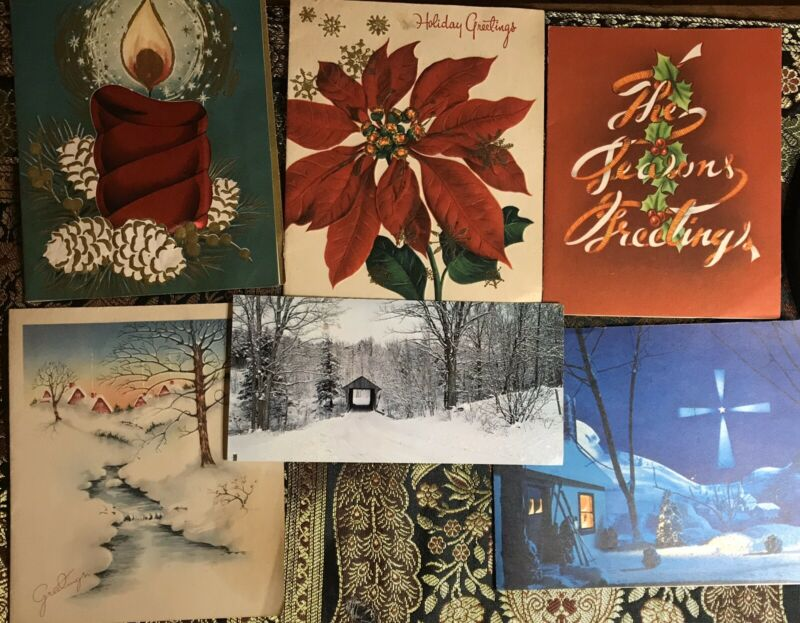 Vintage Christmas Cards (6) Made In USA #2 Great Graphics!
