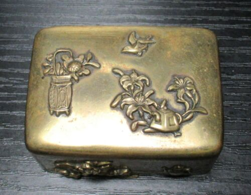 LARGE OLD BRONZE AND COPPER JAPANESE MIXED METAL TRINKET SNUFF JAR BOX