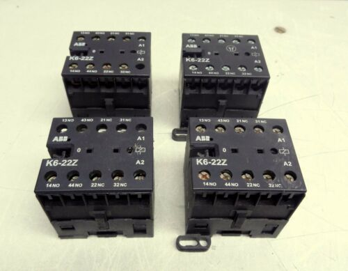 LOT OF 4 ABB K6-22Z CONTACTOR RELAY 110 - 127 V CONTROL
