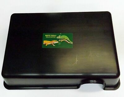 "Large Black Plastic Reptile Hide Box - 13"" x 9"" Snakes Lizards Python"