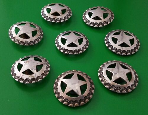 """Set of 8 Vintage Sterling Silver Star Conchos 1 ¼"""" Round Domed Post & Screw"""
