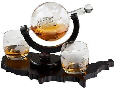 Elegant Whiskey Decanter with Whiskey Glasses on