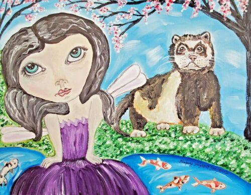 Ferret Collectible 4 x 6 Art Print Fairy Koi Pond Signed by Artist KSams Vintage