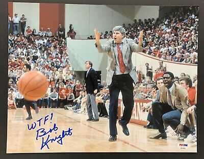 Bob Knight Signed Photo 11x14 PSA/DNA Autograph WTF What The F*$! Indiana Chair