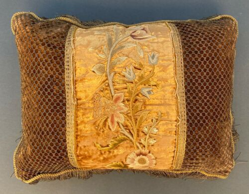 New 2 Custom Pillows Cushions 19th c FRENCH Textile FLORAL Antique