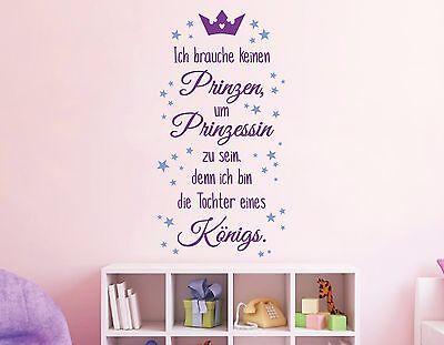 Wandtattoo Kinderzimmer Mädchen Prinzessin Krone Wandspruch bunte Sterne pkm170 ()