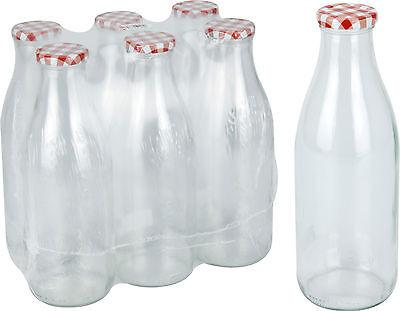 Set Mit 6 Glas Milch Flaschen Mit Rot Deckel 1 Liter Vintage Flasche