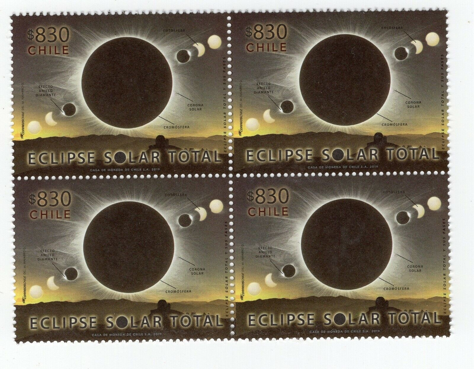 CHILE 2019 total ECLIPSE Astronomy block of 4 Moon Sun MNH