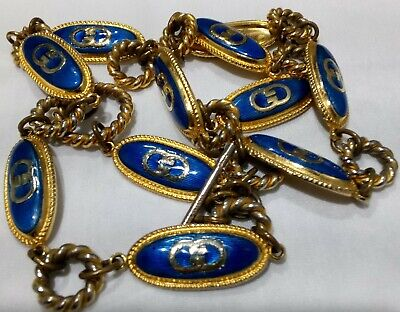Gucci Italy Vintage Gold Plated Blue Logo Chain Belt/Necklace 34""
