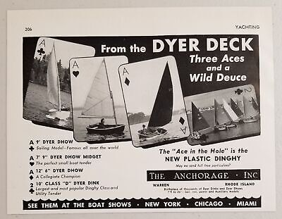1949 Print Ad Dyer Dhow,Midget,Dink Sailboats The Anchorage Inc Warren,RI