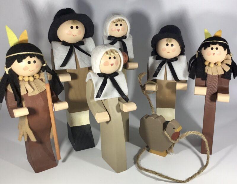 "Nice Vintage Lot 7 Wooden 10""- 8"" Thanksgiving Indians Turkey Pilgrims Figures"