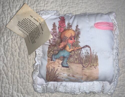 Vintage Tooth Fairy Pillow 1975 Tooth Fairy Company NWT Little Girl Pink Eyelet