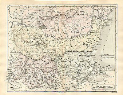 antient geography map by samuel butler 1869 - macedonia