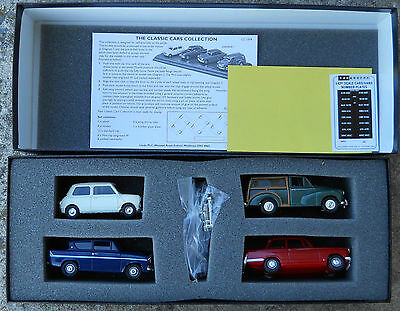 Vanguards Classic Cars of the 60s CC1004 Mini Minor Herald Anglia on wood plinth