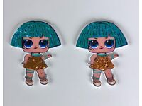 2 X MINI GLITTER LOL DOLL  ACRYLIC PLANAR FLATBACK RESIN CRAFT HAIR