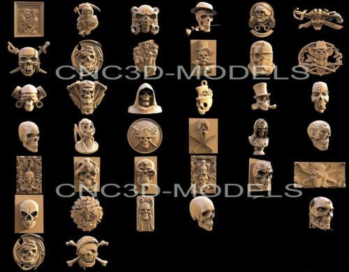 3D STL Models for CNC Router Engraver Artcam Aspire Collection Skull Pirate H2