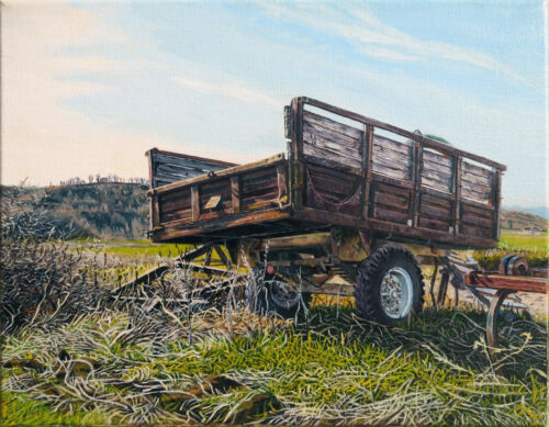 Original Oil Painting Greek Landscape Village Field Farm Red Rusty Wagon Grass