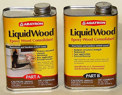 Abatron Liquidwood Epoxy Wood Consolidant 2 Quart Kit Part A Part B