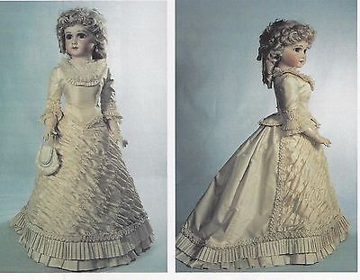 """24""""ANTIQUE FRENCH FASHION DOLL1883 BALL GOWN  PATTERN"""
