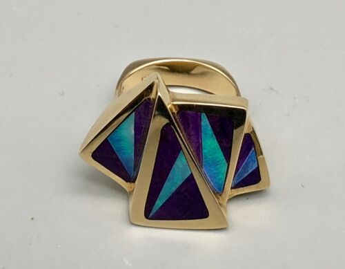 Outstanding 14k Gold Ring with Opal and Sugilite Inlay - size 7