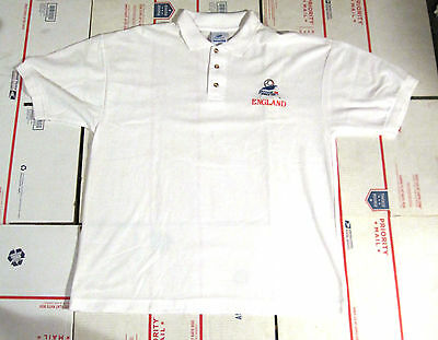 ENGLAND VINTAGE 98 FRANCE 98 WORLD CUP WHITE PULLOVER COLLAR SHIRT XL 3 BUTTONS
