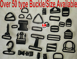 Black-Plastic-Side-Release-Buckles-For-Webbing-bags-straps-3-BAR-SLIDES-Clip